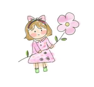 花を持った女の子のイラスト